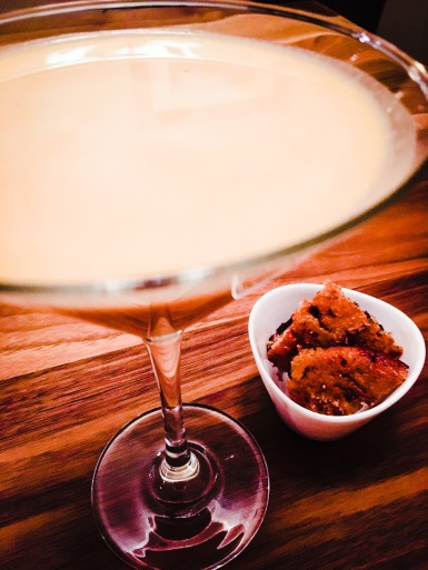 Pumpkin pie martini. Pictured with chocolate chip pumpkin protein cookies.