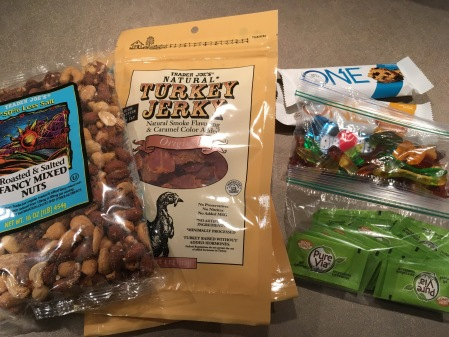 The extras I brought with me: some of my go-to snacks, protein bars in case I needed to replace a meal, sweetener alternatives and my favorite low supplies.