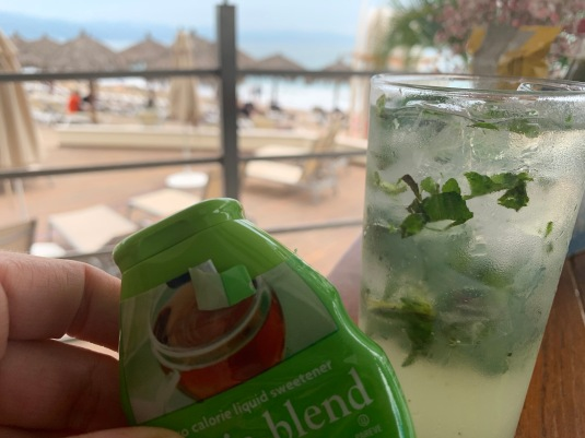 Squaring away my first mojito on the beach.